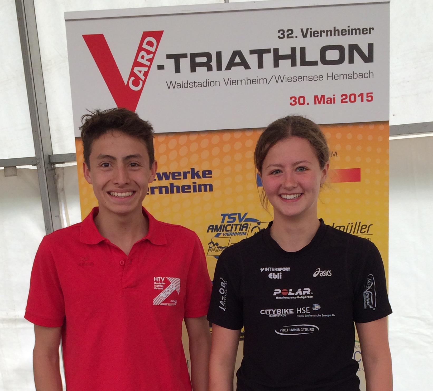 Elena Braun und Leon Günther werden Triathlon-Vizehessenmeister  in Viernheim